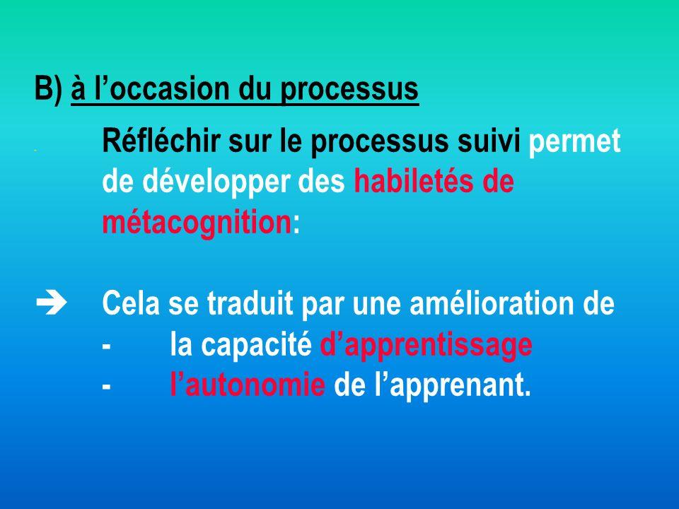 B) à l'occasion du processus - Réfléchir sur le processus suivi permet de développer des habiletés de métacognition:  Cela se traduit par une amélioration de - la capacité d'apprentissage - l'autonomie de l'apprenant.