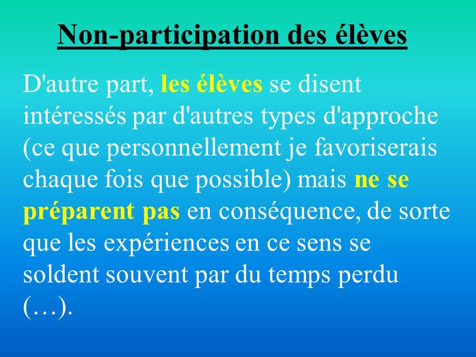 Non-participation des élèves