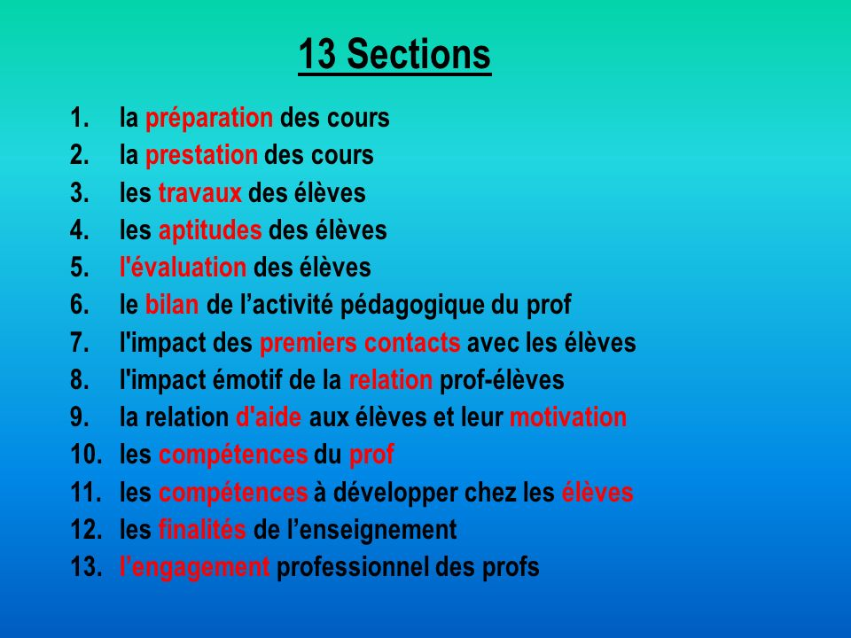 13 Sections