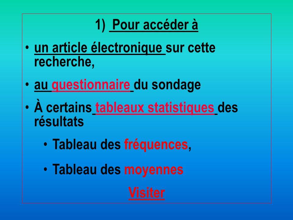 1) Pour accéder à un article électronique sur cette recherche, au questionnaire du sondage. À certains tableaux statistiques des résultats.