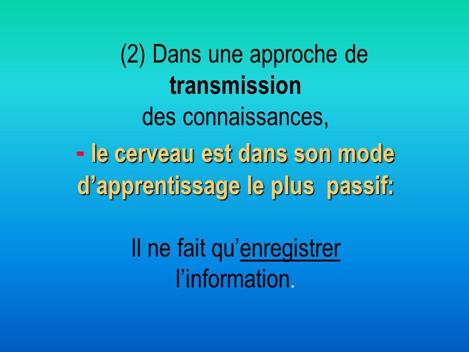 (2) Dans une approche de transmission des connaissances, - le cerveau est dans son mode d'apprentissage le plus passif: Il ne fait qu'enregistrer l'information.