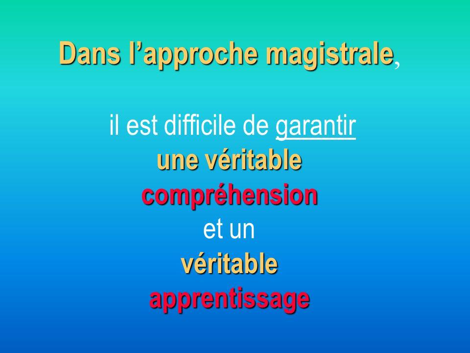 Dans l'approche magistrale, il est difficile de garantir une véritable compréhension et un véritable apprentissage