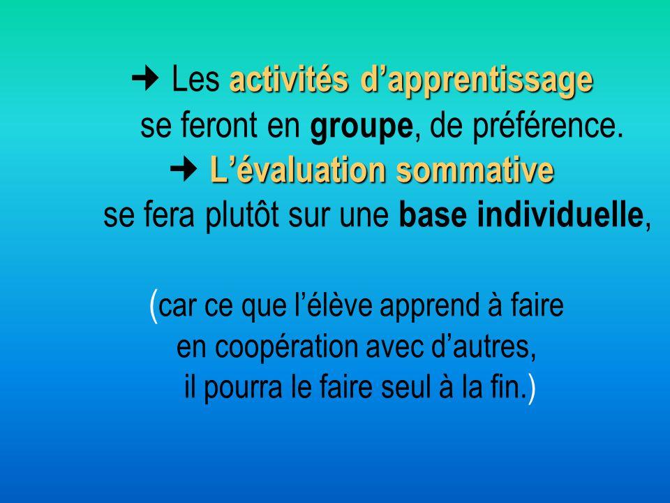  Les activités d'apprentissage se feront en groupe, de préférence
