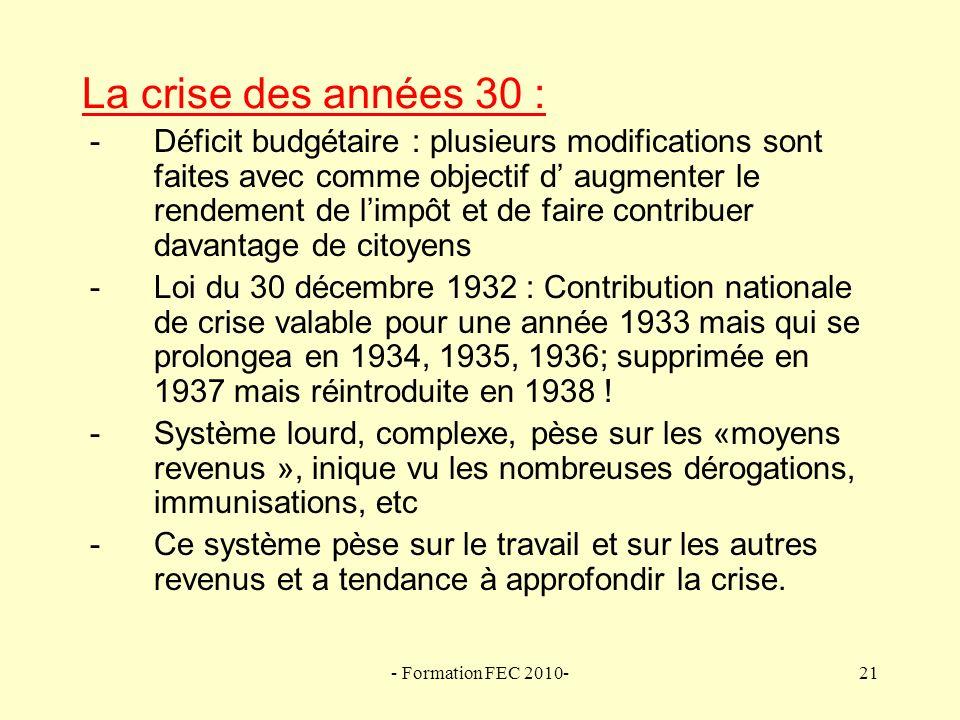 La crise des années 30 :