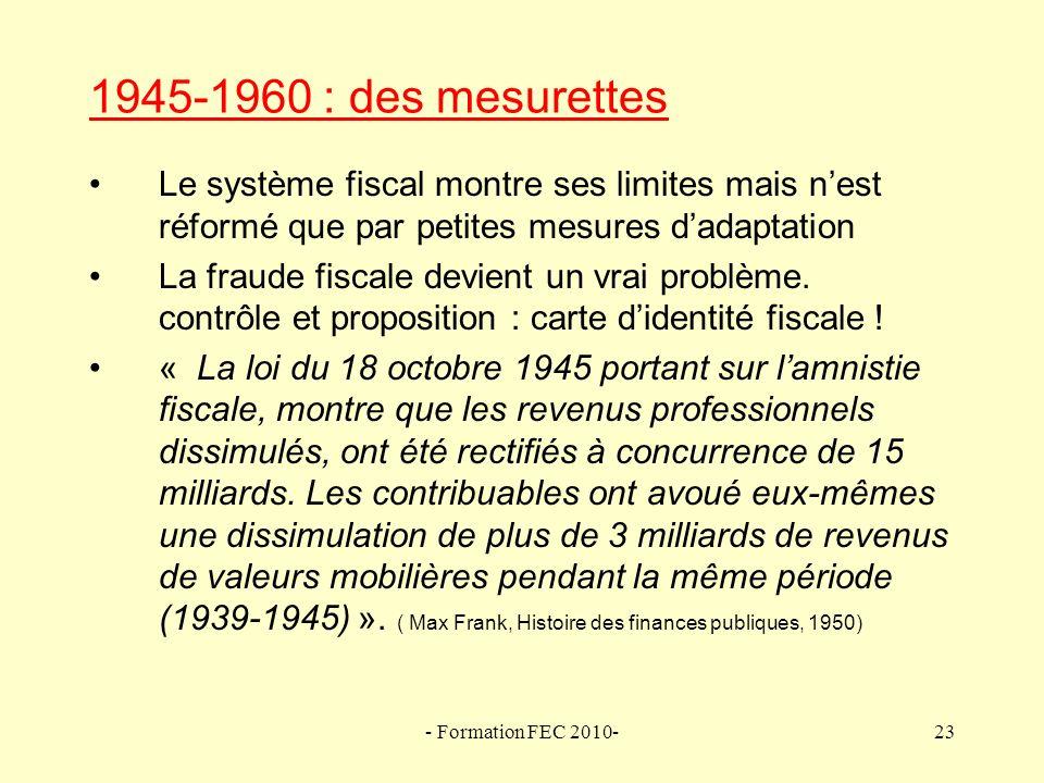1945-1960 : des mesurettes Le système fiscal montre ses limites mais n'est réformé que par petites mesures d'adaptation.