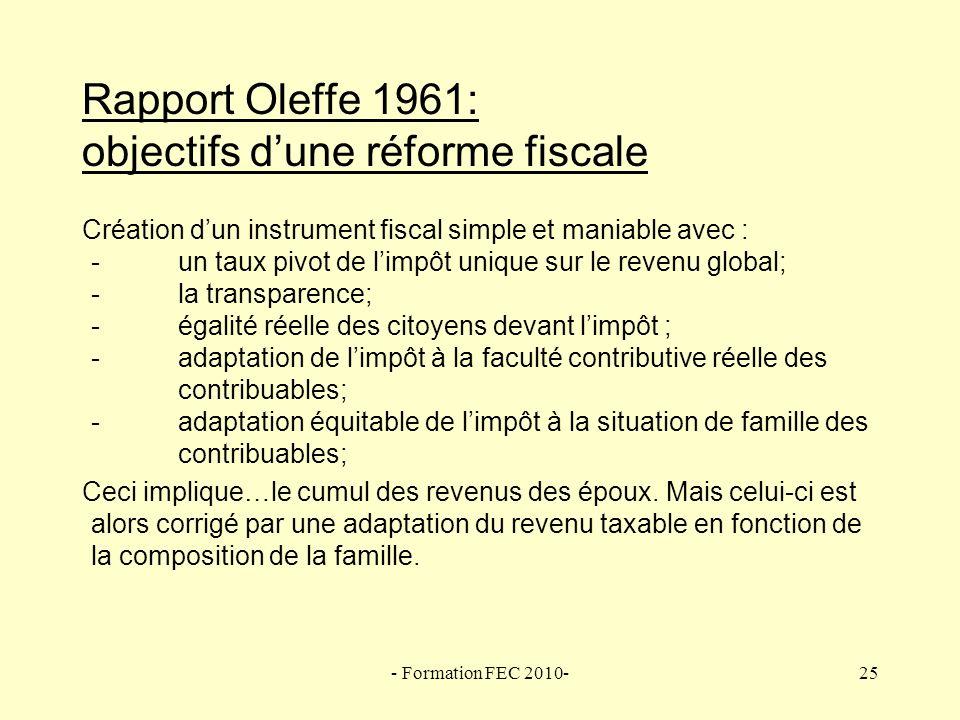 Rapport Oleffe 1961: objectifs d'une réforme fiscale