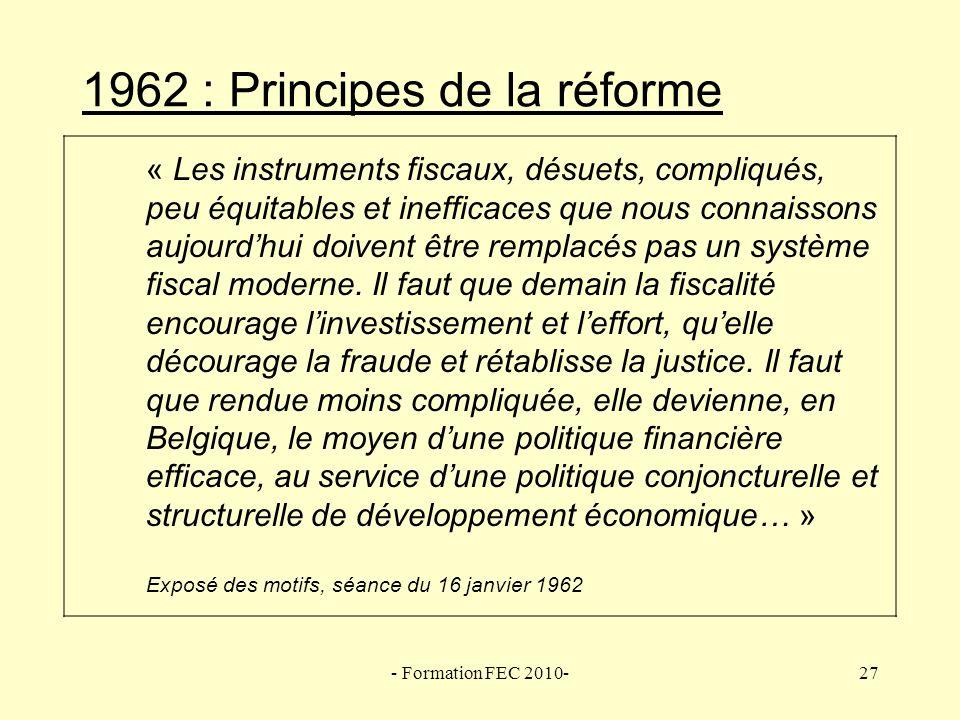 1962 : Principes de la réforme