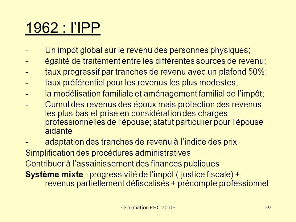 1962 : l'IPP Un impôt global sur le revenu des personnes physiques;