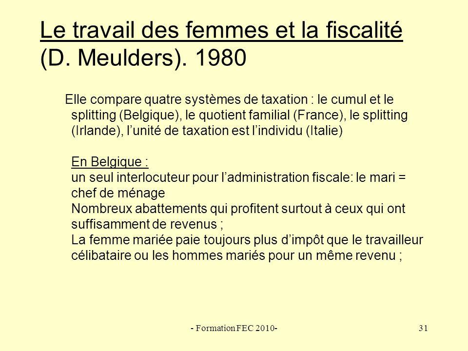Le travail des femmes et la fiscalité (D. Meulders). 1980