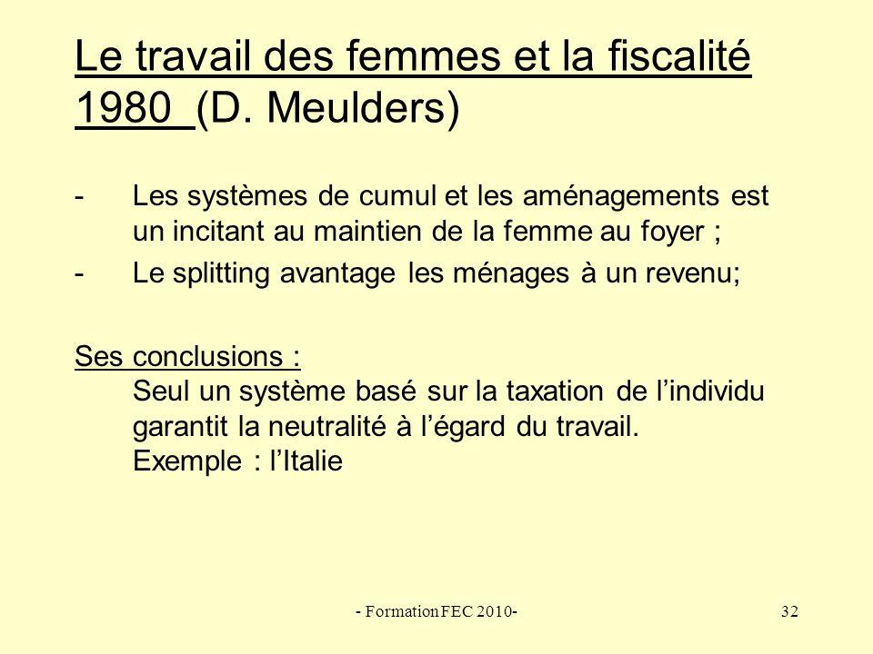 Le travail des femmes et la fiscalité 1980 (D. Meulders)