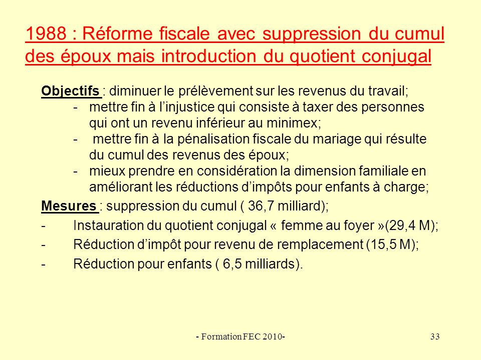 1988 : Réforme fiscale avec suppression du cumul des époux mais introduction du quotient conjugal