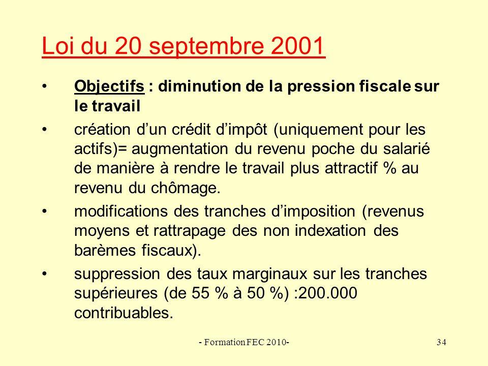 Loi du 20 septembre 2001 Objectifs : diminution de la pression fiscale sur le travail.