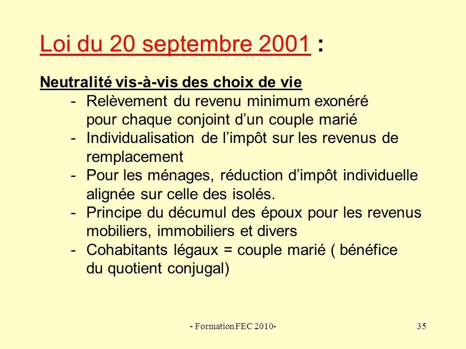 Loi du 20 septembre 2001 :