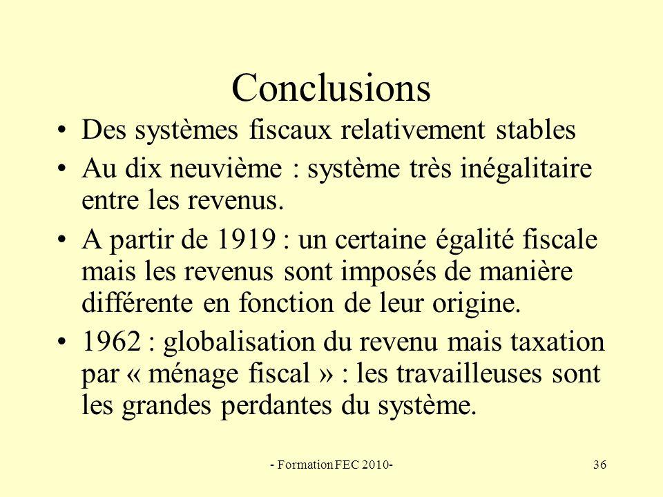 Conclusions Des systèmes fiscaux relativement stables