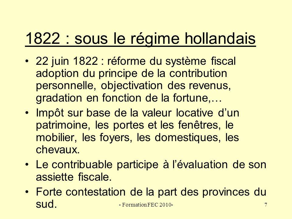 1822 : sous le régime hollandais