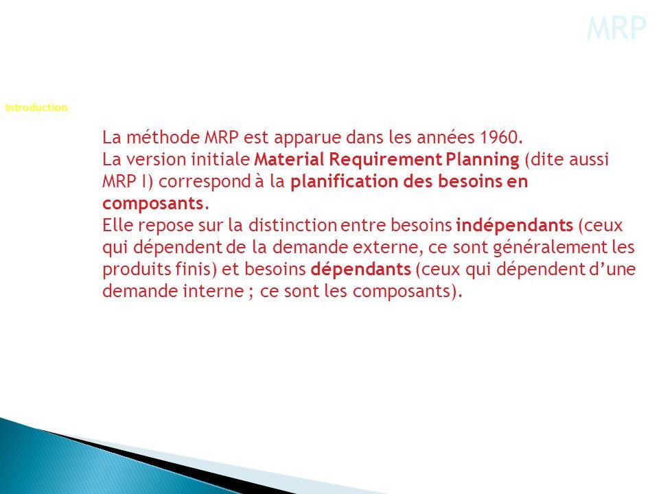 MRP La méthode MRP est apparue dans les années 1960.