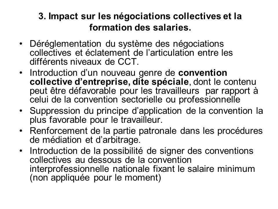 3. Impact sur les négociations collectives et la formation des salaries.