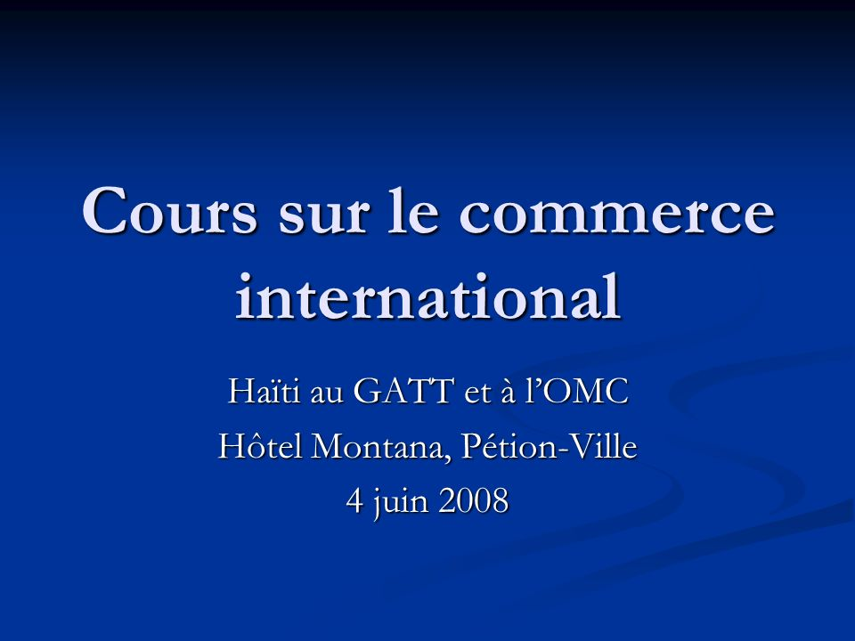 Cours sur le commerce international