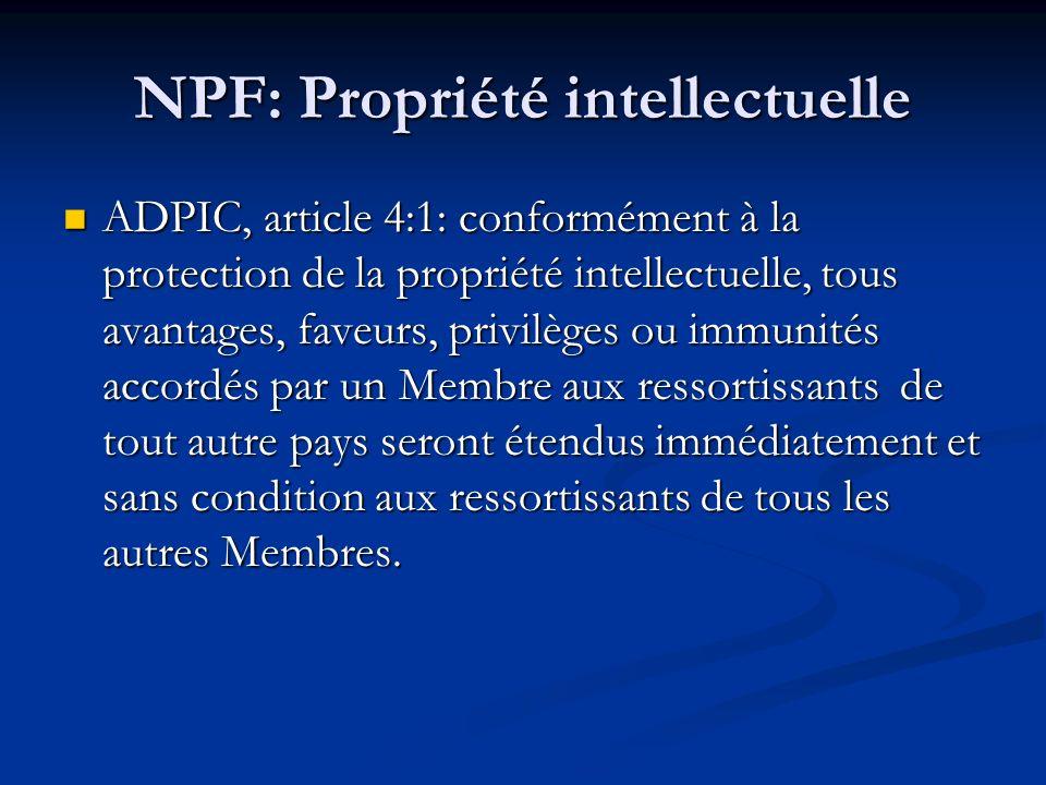 NPF: Propriété intellectuelle
