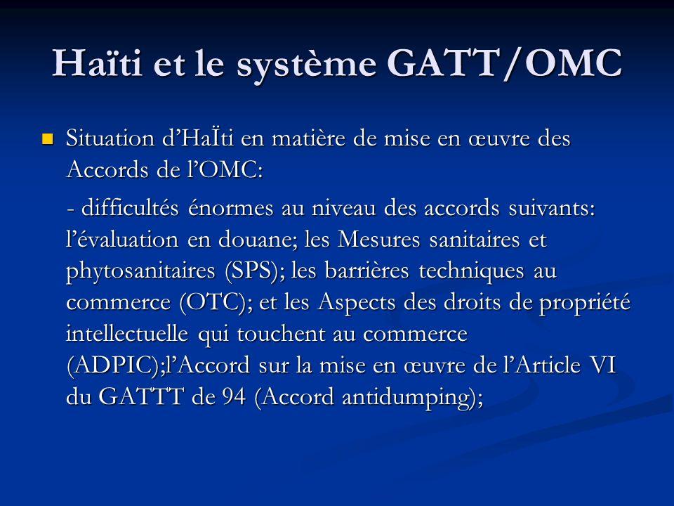 Haïti et le système GATT/OMC