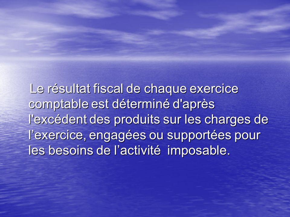 Le résultat fiscal de chaque exercice comptable est déterminé d après l excédent des produits sur les charges de l'exercice, engagées ou supportées pour les besoins de l'activité imposable.