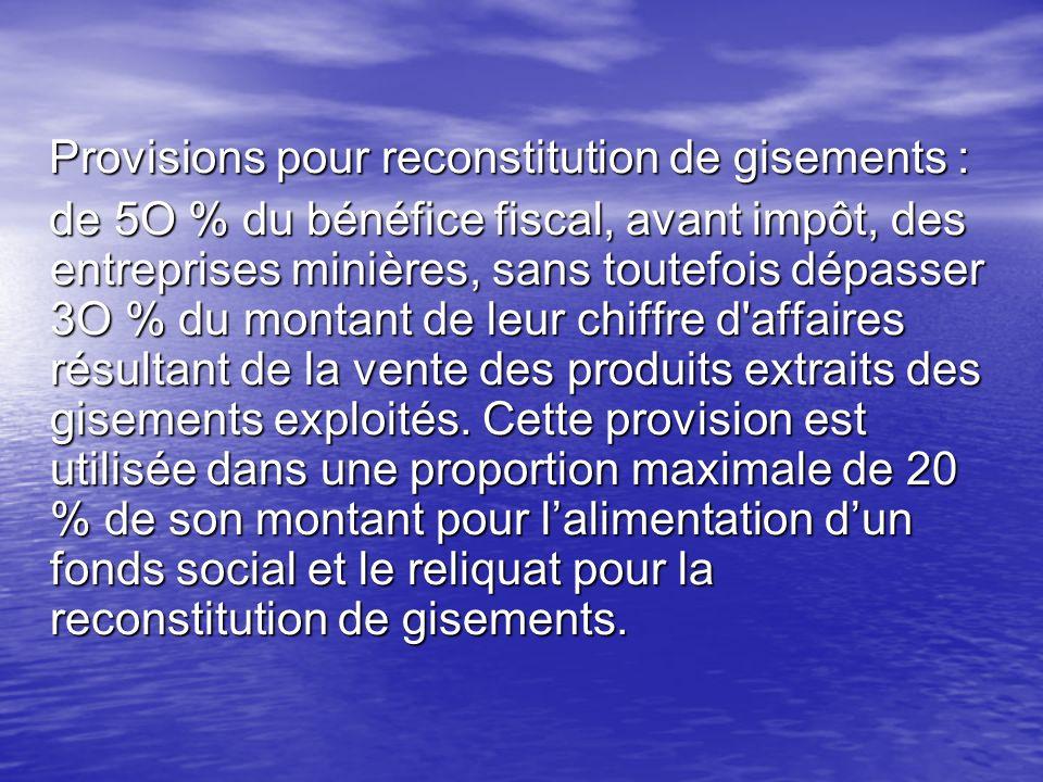 Provisions pour reconstitution de gisements :