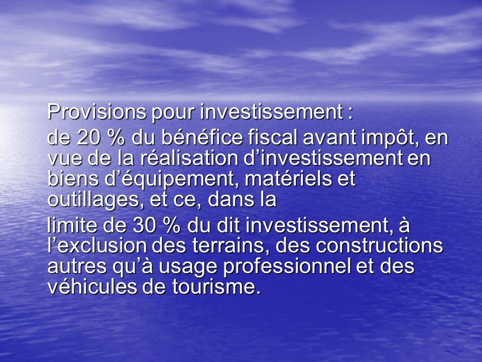 Provisions pour investissement :
