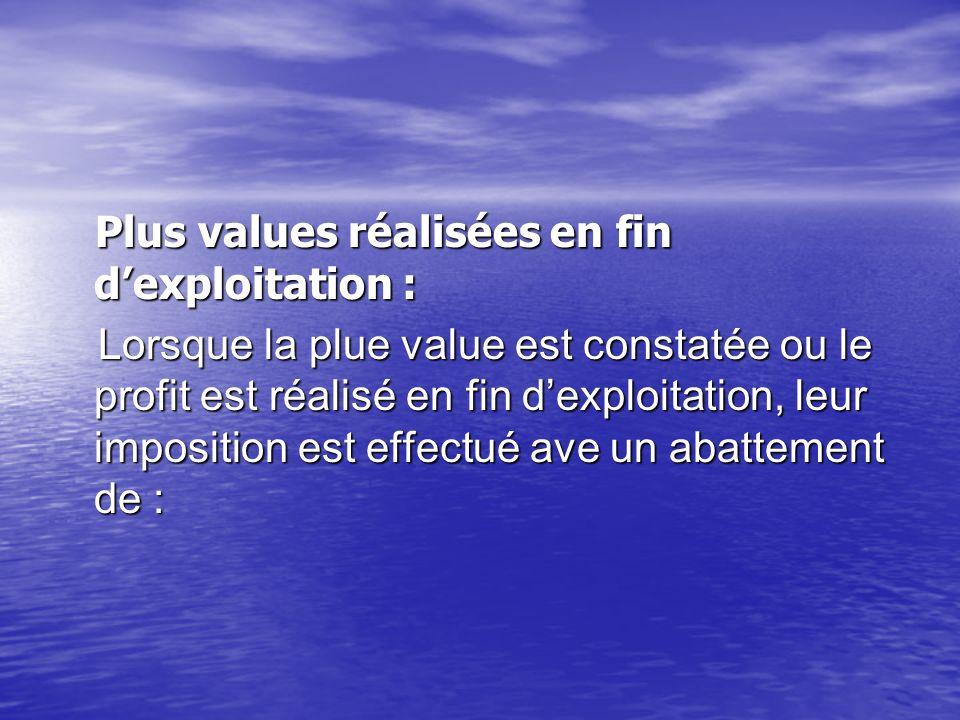 Plus values réalisées en fin d'exploitation :