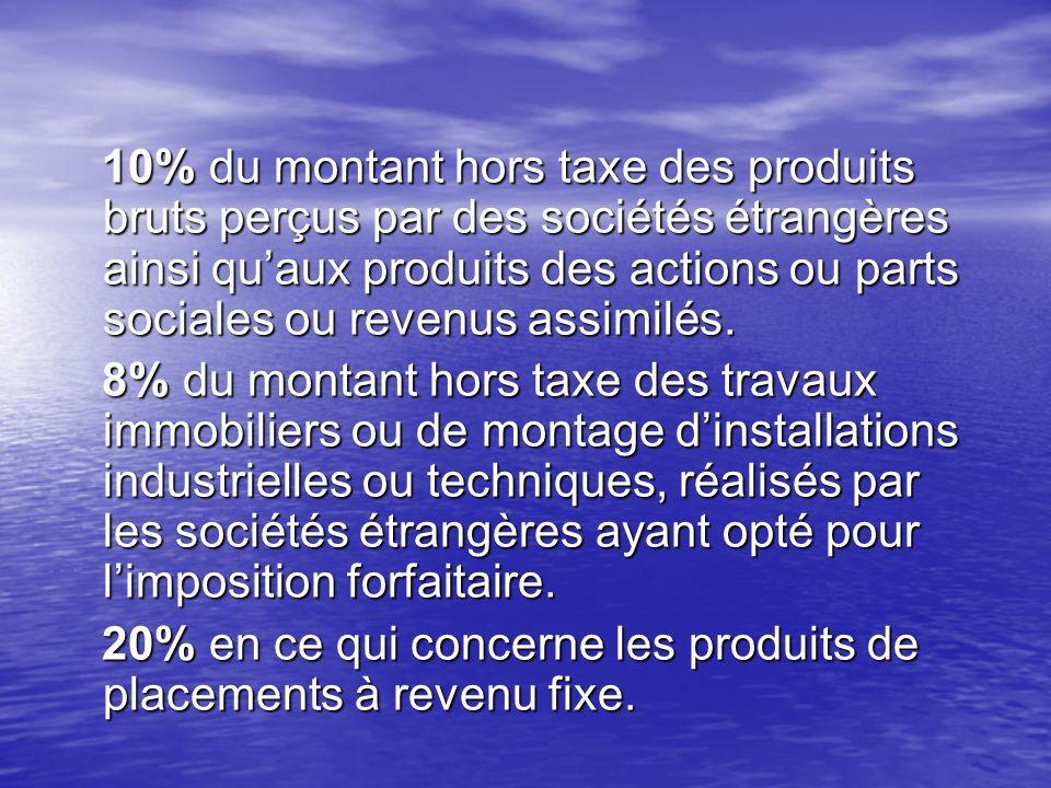 10% du montant hors taxe des produits bruts perçus par des sociétés étrangères ainsi qu'aux produits des actions ou parts sociales ou revenus assimilés.