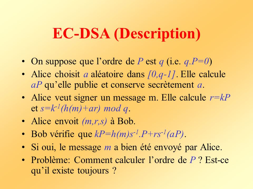 EC-DSA (Description) On suppose que l'ordre de P est q (i.e. q.P=0)