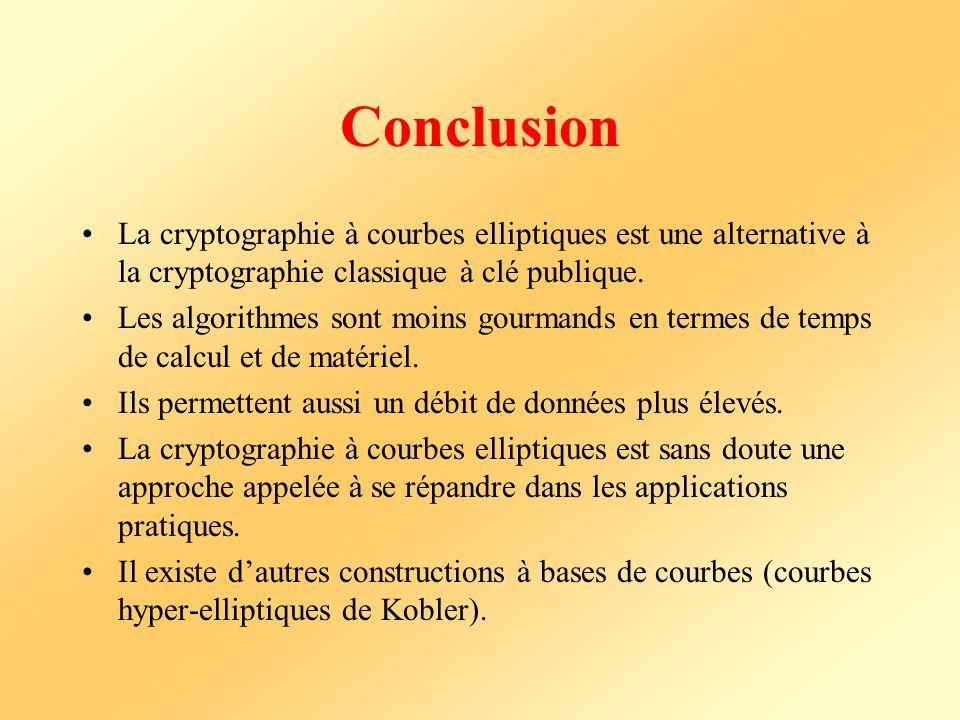 Conclusion La cryptographie à courbes elliptiques est une alternative à la cryptographie classique à clé publique.