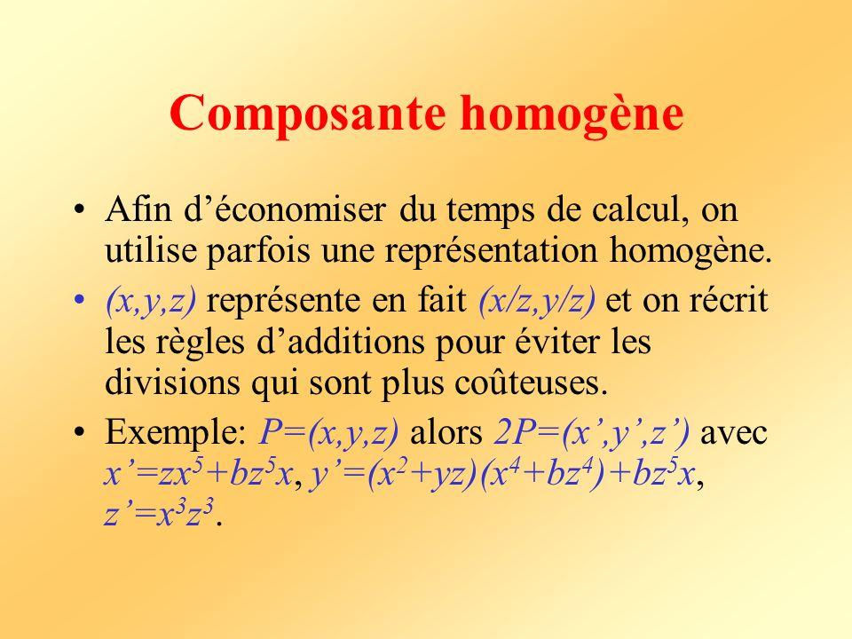 Composante homogène Afin d'économiser du temps de calcul, on utilise parfois une représentation homogène.
