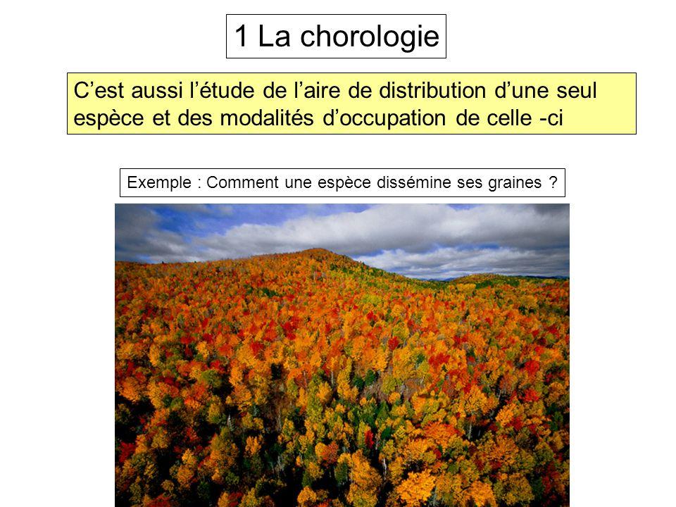 1 La chorologie C'est aussi l'étude de l'aire de distribution d'une seul espèce et des modalités d'occupation de celle -ci.