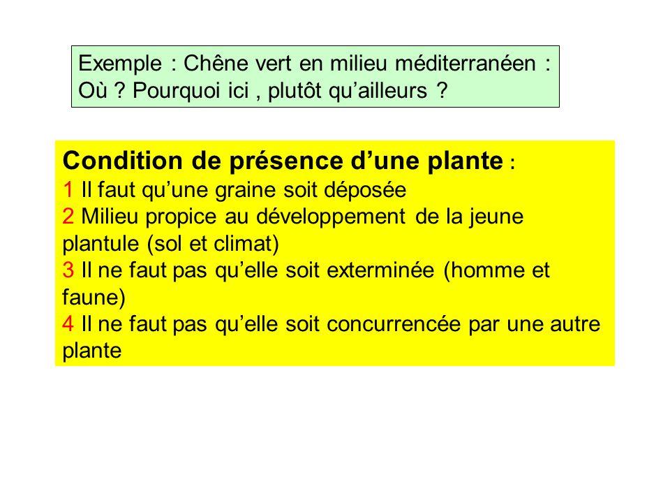 Condition de présence d'une plante :