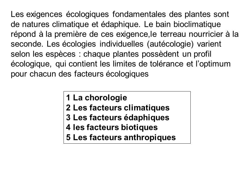 Les exigences écologiques fondamentales des plantes sont de natures climatique et édaphique. Le bain bioclimatique répond à la première de ces exigence,le terreau nourricier à la seconde. Les écologies individuelles (autécologie) varient selon les espèces : chaque plantes possèdent un profil écologique, qui contient les limites de tolérance et l'optimum pour chacun des facteurs écologiques
