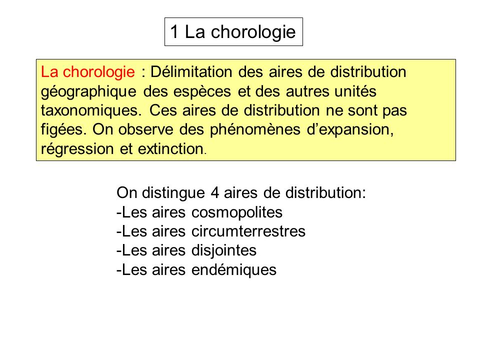 1 La chorologie