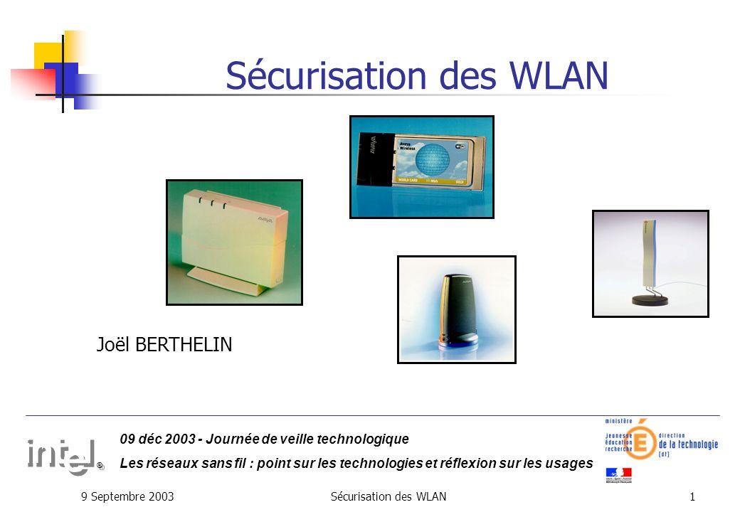 Sécurisation des WLAN Joël BERTHELIN