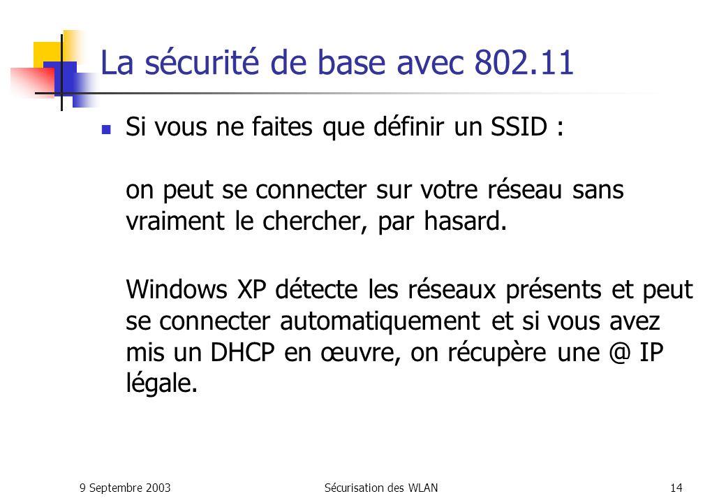 La sécurité de base avec 802.11