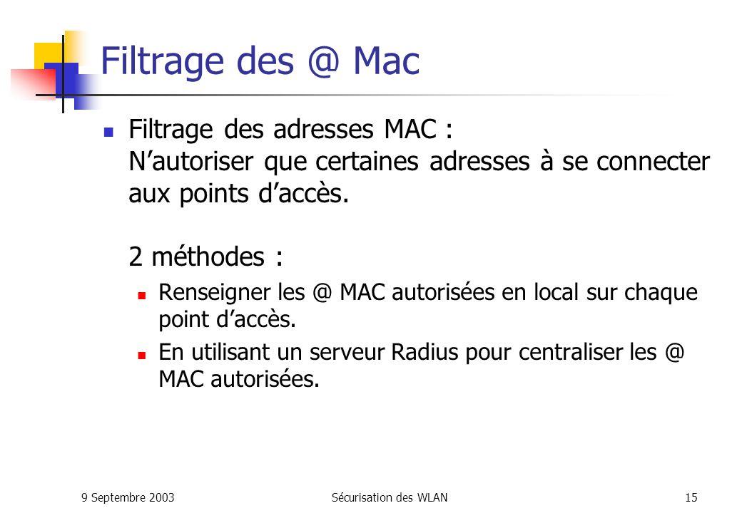 Filtrage des @ Mac Filtrage des adresses MAC : N'autoriser que certaines adresses à se connecter aux points d'accès. 2 méthodes :