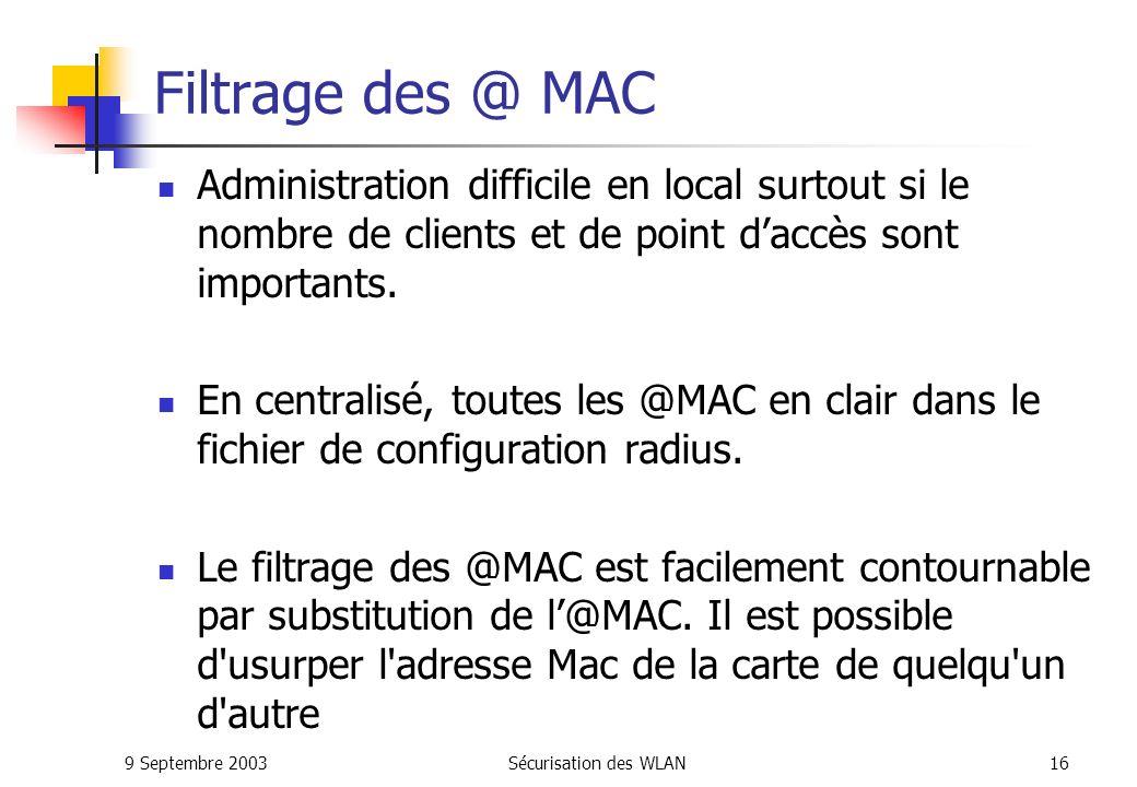 Filtrage des @ MAC Administration difficile en local surtout si le nombre de clients et de point d'accès sont importants.