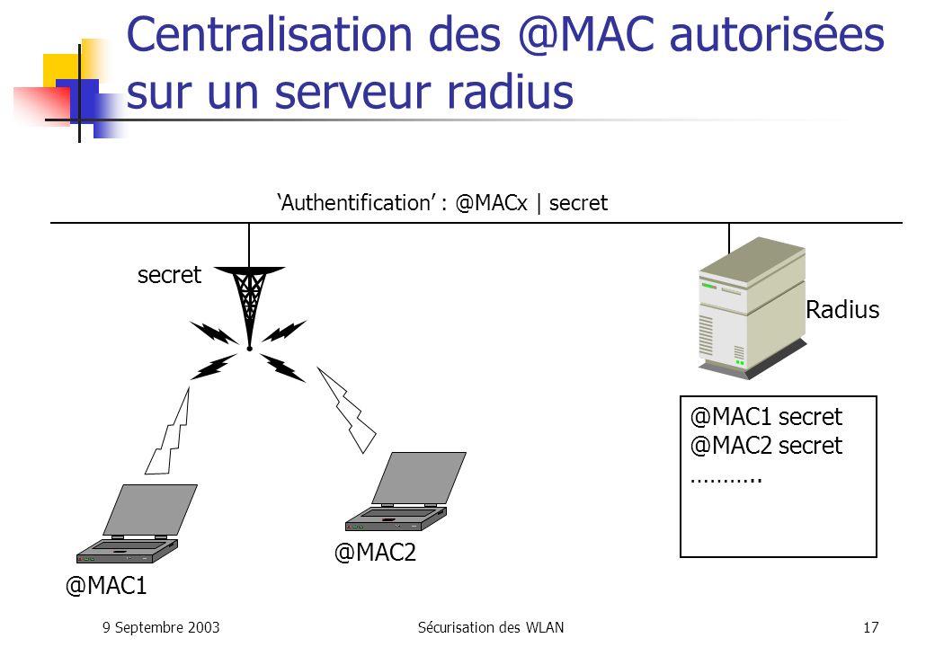 Centralisation des @MAC autorisées sur un serveur radius
