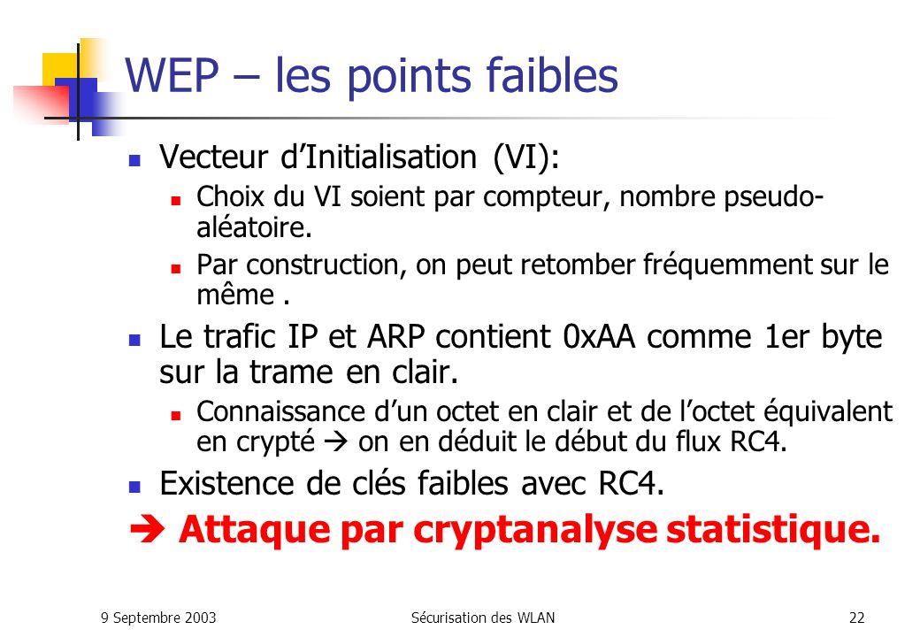 WEP – les points faibles