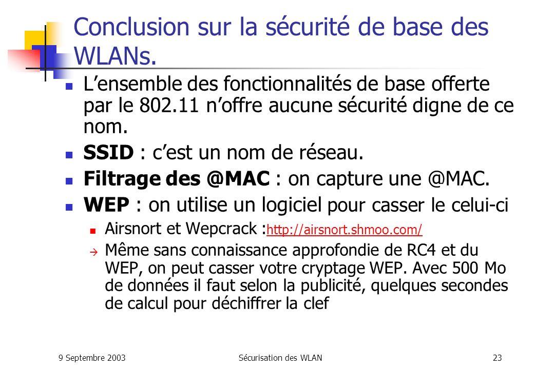 Conclusion sur la sécurité de base des WLANs.