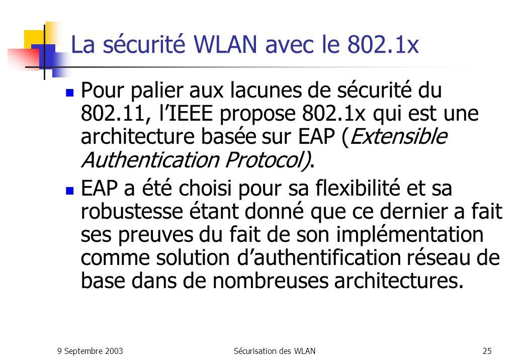 La sécurité WLAN avec le 802.1x