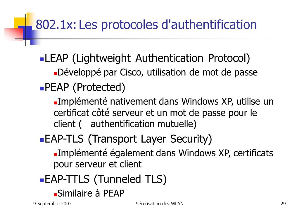 802.1x: Les protocoles d authentification