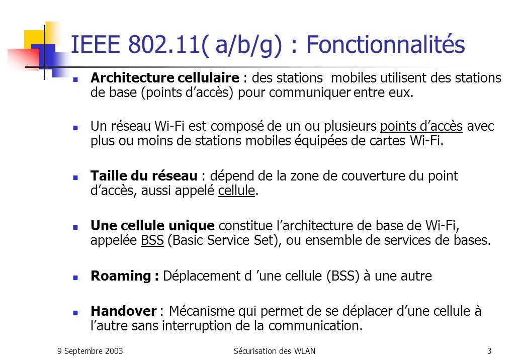 IEEE 802.11( a/b/g) : Fonctionnalités
