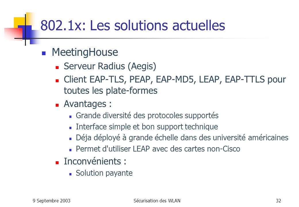 802.1x: Les solutions actuelles