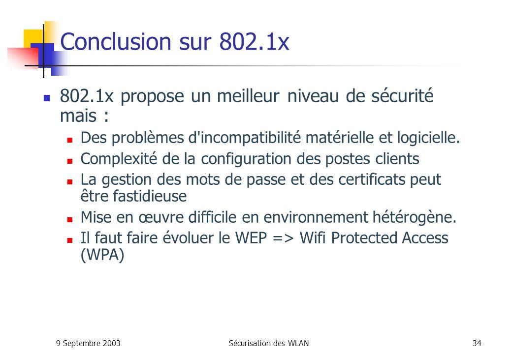 Conclusion sur 802.1x 802.1x propose un meilleur niveau de sécurité mais : Des problèmes d incompatibilité matérielle et logicielle.