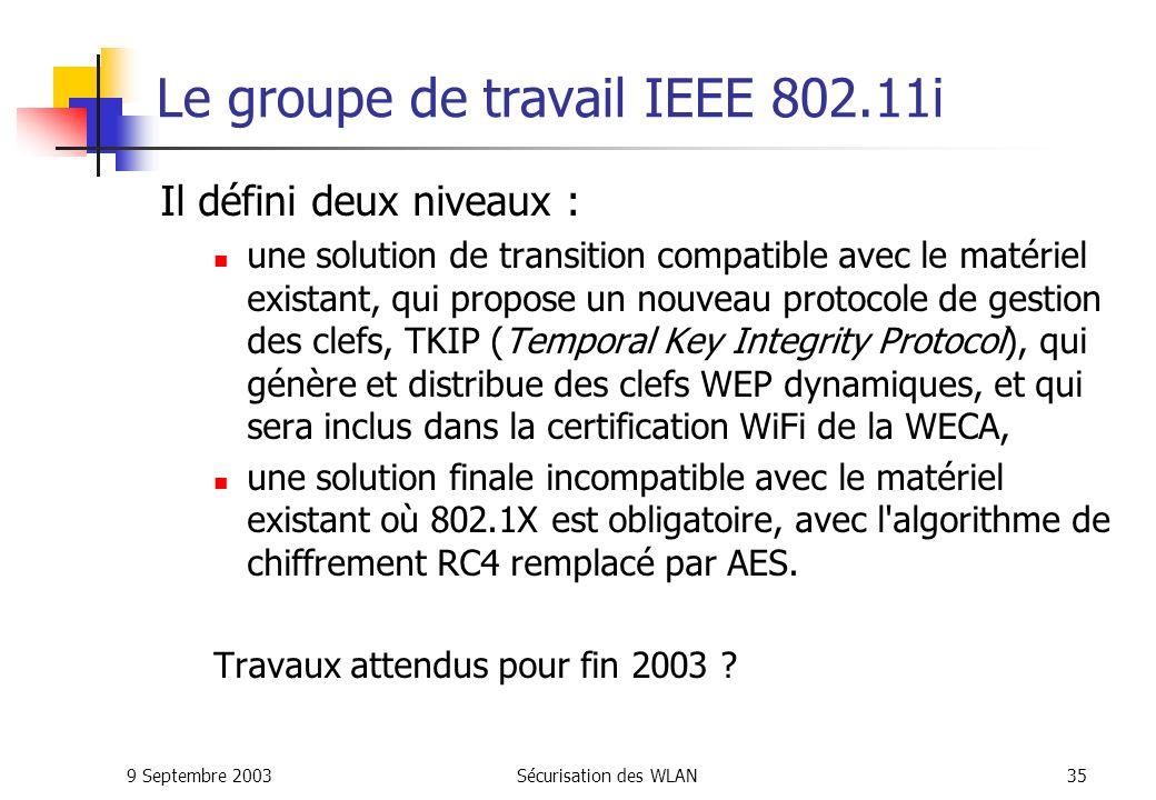 Le groupe de travail IEEE 802.11i