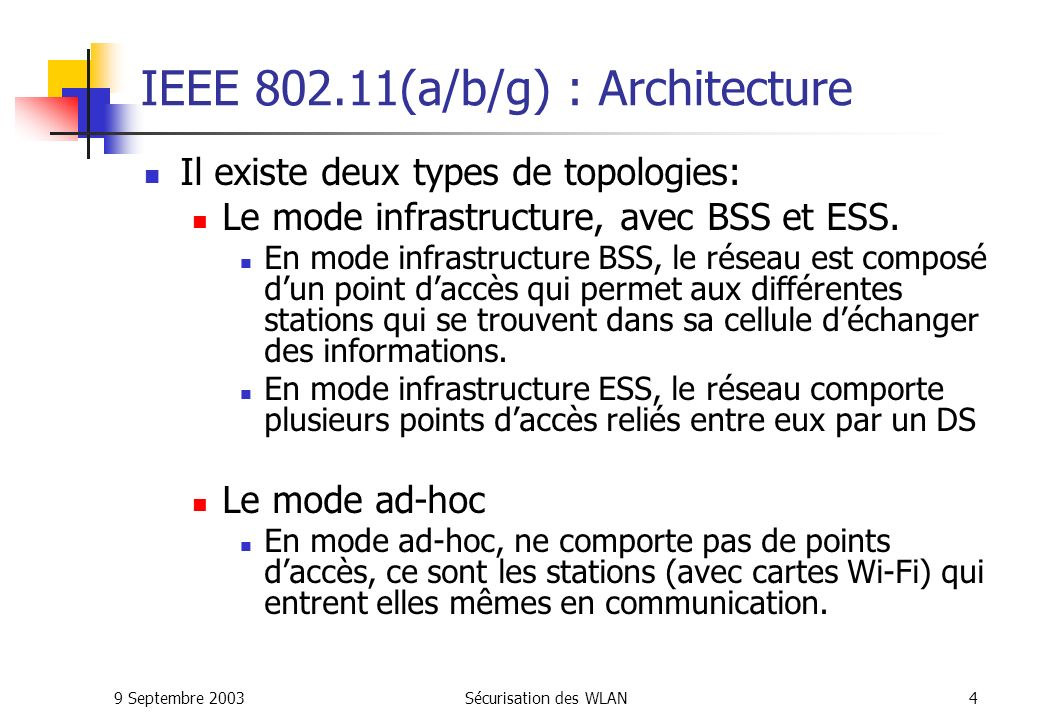 IEEE 802.11(a/b/g) : Architecture